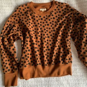 Madewell pleat-sleeve sweater in leopard dot